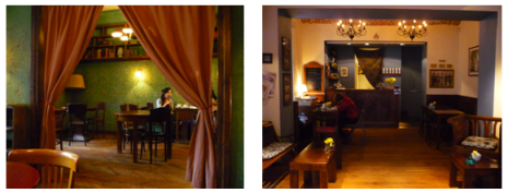 Massolit, English book shop and café with good working atmosphere(Left) and Cheder Café, Jewish style café in Kazimierz © Lena Wulf