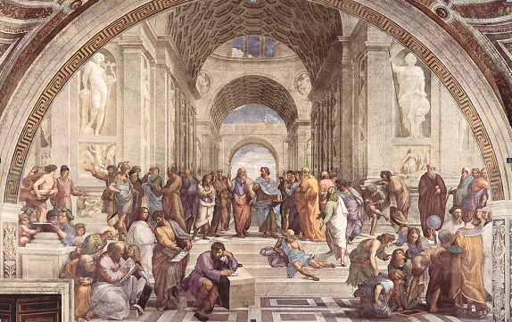 The School of Athens by Raphael in the Apostolic Palace, Vatican City (1509-1510), depicts the pursuit of knowledge. Plato can be seen on the left at the paintings centre.
