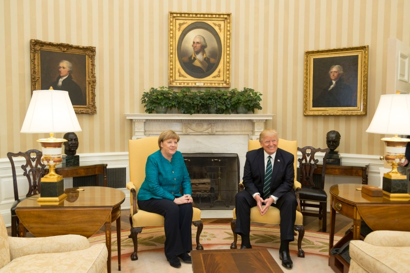 President Donald Trump greets and meets with German Chancellor Angela Merkel